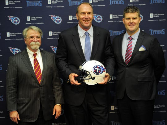 Titans president Steve Underwood, left, coach Mike Mularkey and general manager Jon Robinson during a news conference at Saint Thomas Sports Park on Jan. 18, 2016.