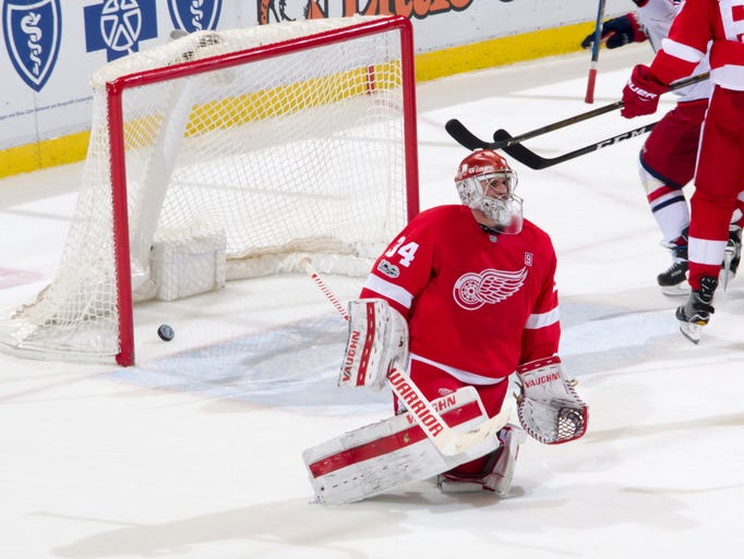 Detroit goalie Petr Mrazek sits in front of the net