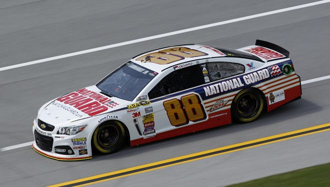 TALLADEGA, AL - MAY 02: Dale Earnhardt Jr., driver of the #88 National Guard Chevrolet, on track during practice for the NASCAR Sprint Cup Series Aaron's 499 at Talladega Superspeedway on May 2, 2014 in Talladega, Alabama.  (Photo by Brian Lawdermilk/Getty Images)