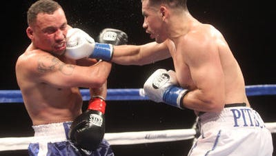 Frankie Gomez (right) lands a right to Vernon Paris at Fantasy Springs Resort and Casino.