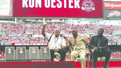 Cincinnati Reds Hall of Fame Inductee Ron Oester is recognized along with Dave Parker and Ken Griffey Jr. during their induction ceremony prior to the Reds game against the Miami Marlins at Great American Ball Park.