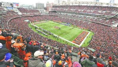 Fans fill Paul Brown Stadium for the Bengals-Chargers playoff game Sunday January 5, 2014