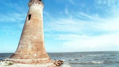 Round Island lighthouse which once stood on Round Island near Pascagoula,, is shown in this undated photo. Hurricane Georges in 1998 destroyed the lighthouse.
