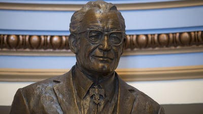 Bronze statue of former Arizona Sen. Barry Goldwater unveiled at state Capitol March 31, 2014.