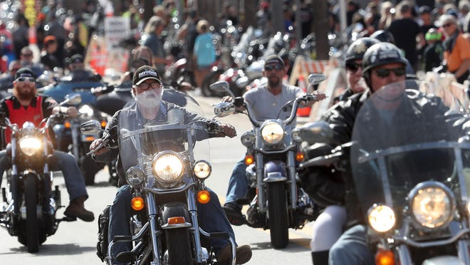 Riders fill Main Street, Friday March 6, 2020 where it's motorcycles only on the opening day of Bike Week 2020. The city attempted to shut the event down early due to the coronavirus.