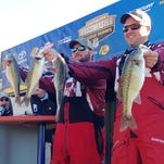Itawamba Community College's Hunter Schrock (left) and Russ Johnson finished in the top spot in the Carhartt Bassmaster College Series Southern Regional.