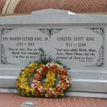 The gravesite of Martin Luther King Jr. and his wife, Coretta Scott King, sits outside of the King Center's Freedom Hall in Atlanta.