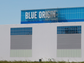 Blue Origin's logo is seen on its New Glenn factory