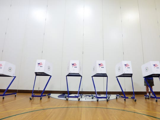 Voting booths at Sloatsburg Elementary School on Tuesday, May 15, 2018.