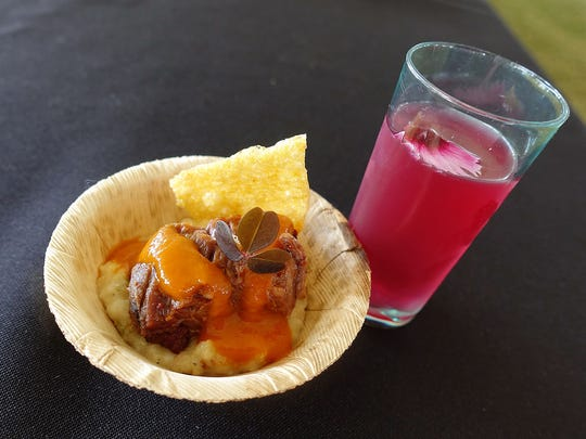 Ga'ivsa pudding with buffalo brisket, wolfberry barbecue sauce and corn chip, served with prickly pear soda, from Kai at the 2017 azcentral.com Food & Wine Experience.