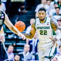 Branden Dawson of MSU brings the ball up the floor during the Spartans' game with Purdue Wednesday in East Lansing.