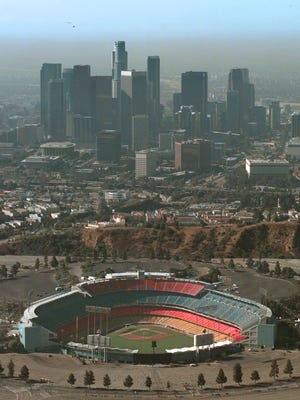 Dodger Stadium, shown here in a 1995 photo, is several miles north of the flashpoint of the 1992 riots.