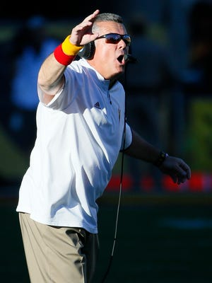 Arizona State coach Todd Graham yells during the second half of an NCAA game against Arizona on Saturday, Nov. 21, 2015, in Tempe. Arizona State won 52-37.