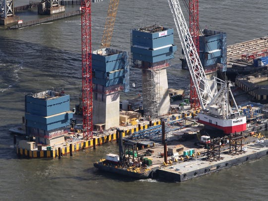 Tower construction on the new Tappan Zee Bridge, from