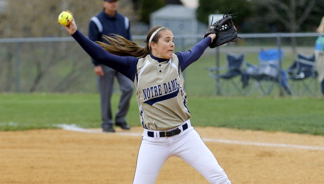 Notre Dame's Alivia Clark delivers a pitch to an Edison batter during Thursday's IAC game in Elmira Heights.