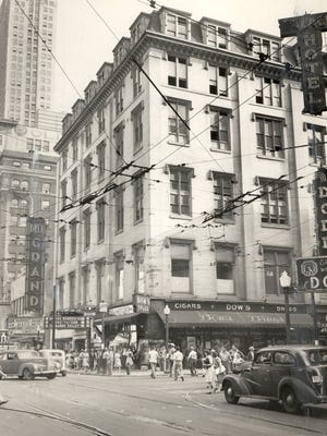 In 1945, the Greenwood Building at Sixth and Vine streets would soon be torn down for the new Terrace Plaza Hotel.