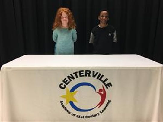 Shown from left are Sophia Myers, fourth-grade winner in Ms. Payne's class, and runner-up Nevaeh Harkness, third-grader in Mrs. Bridges' class.