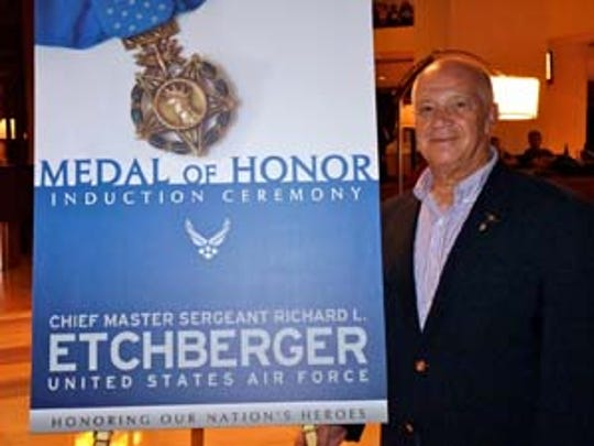 Col. Joe Panza at the Hall of Heroes induction ceremony for Chief Master Sgt. Etchberger at the Pentagon in 2010.