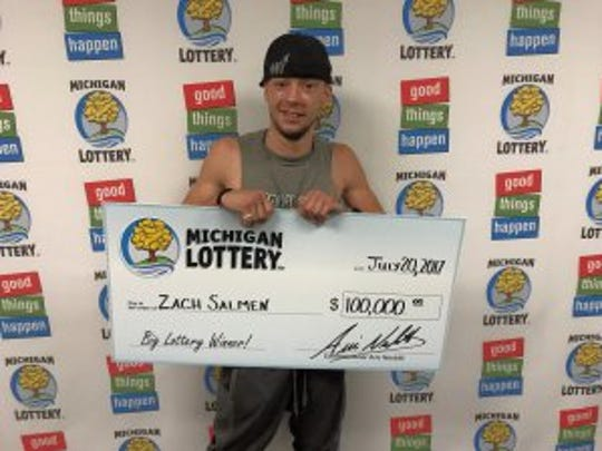 Zach Salmen after collecting his $100,000 prize.
