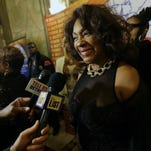 """Mary Wilson arrives at the red carpet premiere for """"Motown: The Musical,""""at the Fisher Theatre on Wednesday, Oct. 22, 2014 in Detroit."""