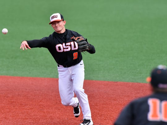 OSU second baseman Andy Armstrong, a sophomore from