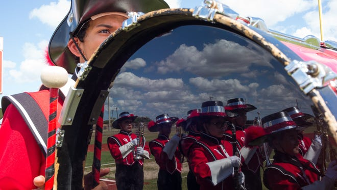 The Premont High School marching band during the South Texas Crossroads Marching Festival  at Cottonpicker Stadium in Robstown on Saturday, Oct. 15, 2016. The Premont band won the National High School Heart of the Arts Award.