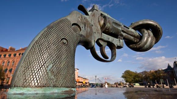 """Non-Violence"" a sculpture by artist Carl Fredrik Reutersward."