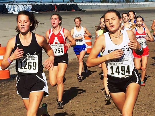 South Lyon East senior Elizabeth Setsuda (right) was 123rd overall in the Division 2 girls race.
