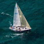 Majic Star, of Bayview Yacht Club, competes in Class E during the start of the Port Huron-to-Mackinac Island Sailboat Race Saturday, July 16, 2016 on Lake Huron.