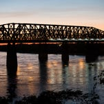 August 23, 2016 - The Memphis skyline can be seen under the Hernando DeSoto Bridge crossing the Mississippi River. The bridge takes its name from Spanish explorer Hernando DeSoto who is believed to be the first European explorer to cross the mighty river. (Mike Brown/The Commercial Appeal)