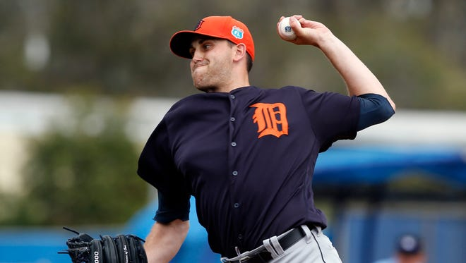 Mar 24, 2016; Dunedin, FL, USA; Detroit Tigers starting pitcher Matt Boyd (48) pitches against the Toronto Blue Jays during the first inning at Florida Auto Exchange Park.