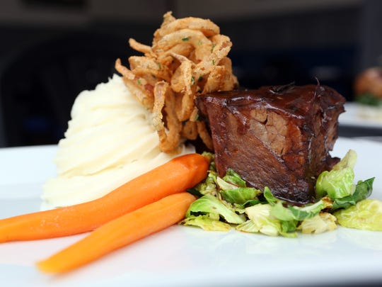 The cabernet-braised beef short ribs with mashed potato,