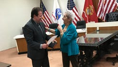 Mayor James Rotundo swore Councilwoman Yolanda Iacobino
