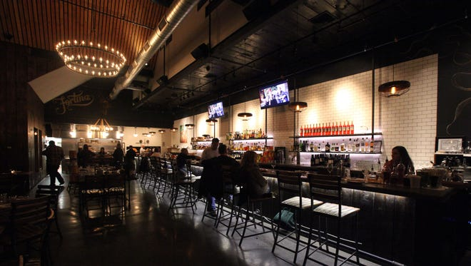 The long bar area at Fortina on Maple Avenue in Armonk.