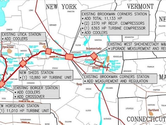 A map of the Dominion New Market Pipeline, detailing upgrades needing to be made along the route.