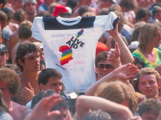 Fans in JFK Stadium at the Live Aid benefit concert concert in Philadelphia.
