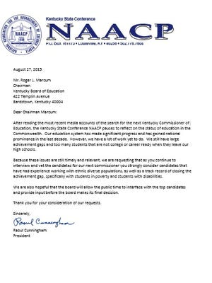 NAACP letter to Kentucky Board of Education chairman Raoul Cunningham.