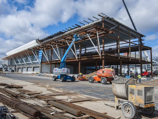 Construction is underway at the Plattsburgh International Airport on Friday, March 18, 2016. The airport is in the midst of a two-year expansion project.
