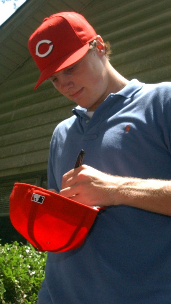 Jay Bruce, shown here after the 2005 draft, was one of six players the Reds drafted who was part of the Opening Day lineup.