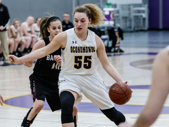 Oconomowoc sophomore Olivia Sobczak (55) breaks for the paint during the Division 1 playoff game at home against Badger on Friday, Feb. 23.
