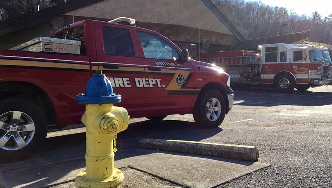 A fire hydrant sits outside a Gatlinburg, Tenn., fire station. Hydrants ran dry Nov. 28, 2016, when a wildfire that began in the Great Smoky Mountains National Park swept into the city, damaging pumping stations.