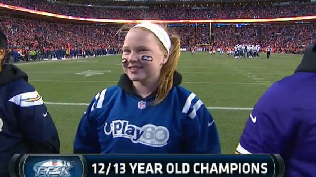 Sophia Saucerman of Indianapolis was shown on the CBS telecast of the Denver-San Diego playoff game after winning the national Punt, Pass & Kick competition in the Girls 12-13 age division.