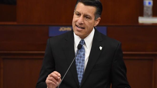Nevada Governor Brian Sandoval gives the state of state speech in the Assembly chambers of the Nevada Legislature in Carson City on Jan. 15 2015.