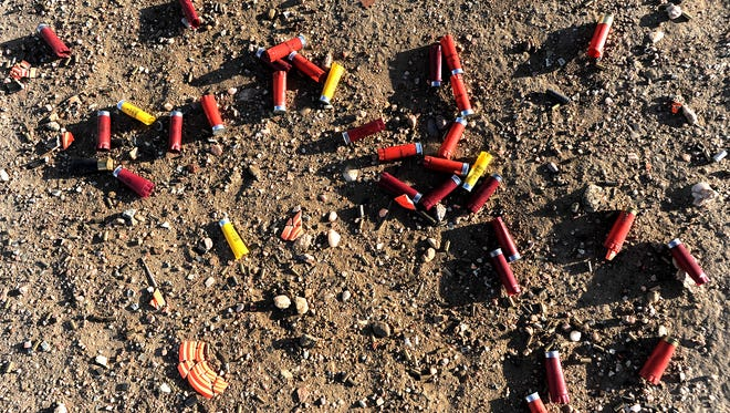 Shotgun shells from sport shooters litter the ground on Thursday, March 7, 2013, in Pawnee National Grassland.