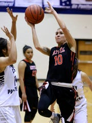 Aztec's Elana Kresl takes a shot during a game on Saturday, Feb. 6, against Piedra Vista at Jerry A. Conner Fieldhouse in Farmington.