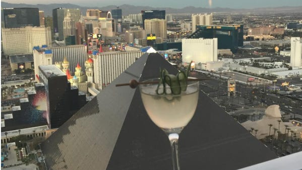 Grab a seat on the patio and enjoy sunset high  above the Las Vegas Strip at Skyfall Lounge at Delano Las Vegas.