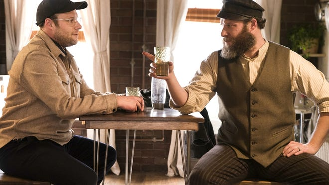 "Seth Rogen portraying Ben Greenbaum, left, and Herschel Greenbaum in ""An American Pickle."""