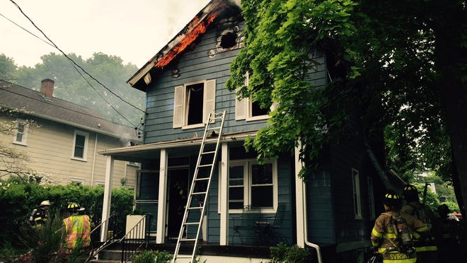 The home at 54 Parrott Street in Cold Spring, which was heavily damaged by a fire Monday evening.