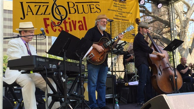 Swingadelic, a 10-piece jazz band, kicks off the fifth annual Morristown Jazz & Blues Festival on the Morristown Green Saturday, Aug. 15, 2015.