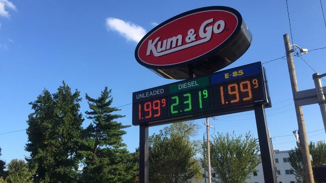 A gallon of regular unleaded gas was $1.99 at the Kum & Go at 609 E. Elm St. in Springfield Wednesday evening.